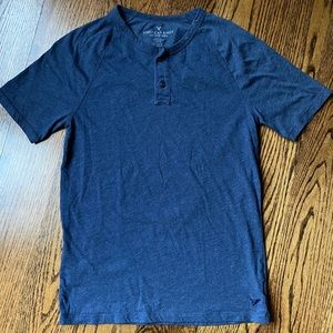 American Eagle Outfitters Navy SS Henley, S EUC